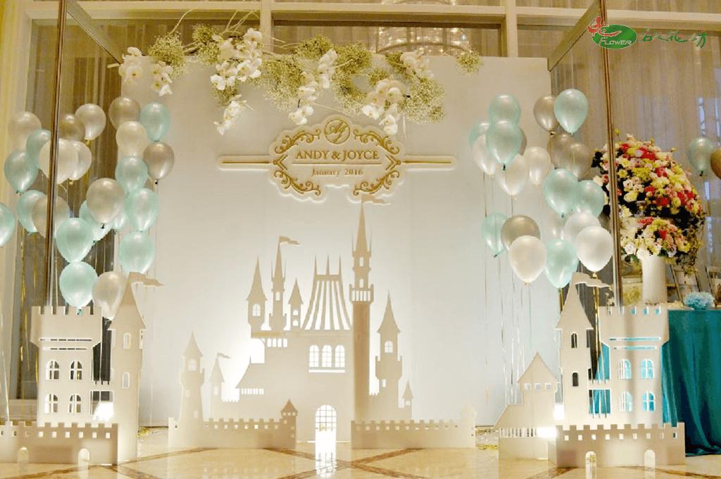 藍白色婚禮花藝會場布置|台中婚禮會場佈置推薦|名人花坊專業婚禮花藝