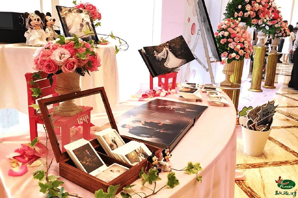 粉紅色系婚禮會場佈置 台中婚禮會場佈置推薦 名人花坊